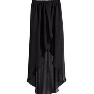High Low Black Chiffon Skirt With Liner